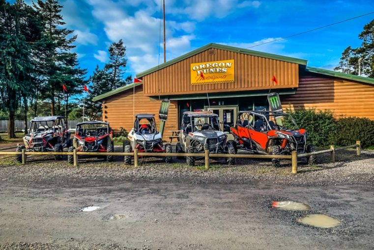 ATVs out front of the Oregon Dunes Motorsports building