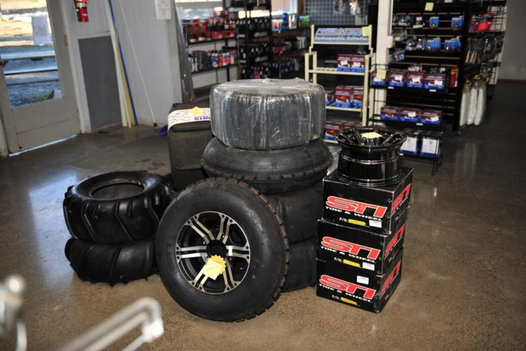 Set of tires at the Oregon Dunes Motorsports service and parts shop