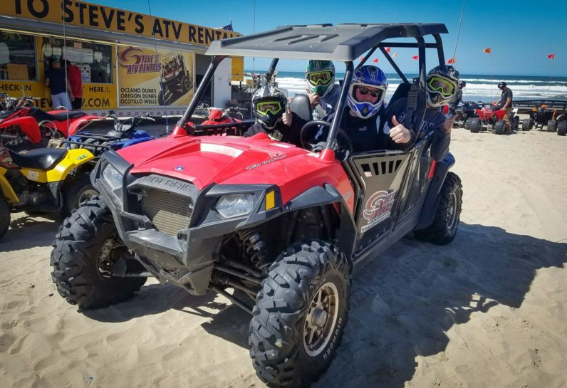 Four guests sitting in Polaris RZR, parked at the Steve's ATV stop