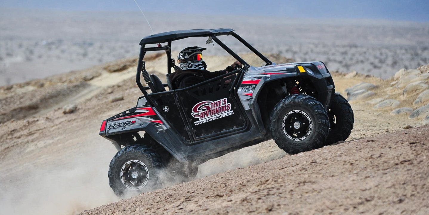 Guest riding uphill on a Polaris RZR 800-2 at Palm Springs