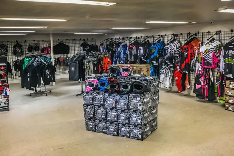Gear and clothing at the Salton City Offroad service and parts center