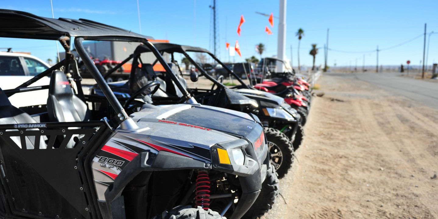 Polaris RZRs parked at the Palm Springs lot